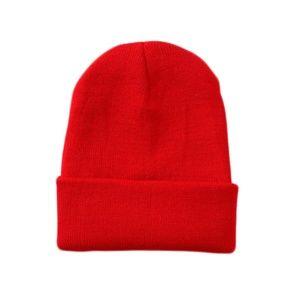 Tigerstars Solid Red Knit Beanie Hat